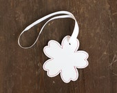 ALL funds are going to cat shelter - Luggage Tag white flower SALE