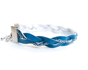 Blue turquoise braided leather bracelet with chain