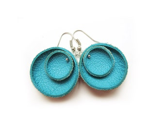 Turquoise leather circle Earrings geometric SALE