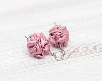 Rose quartz fabric bead earrings
