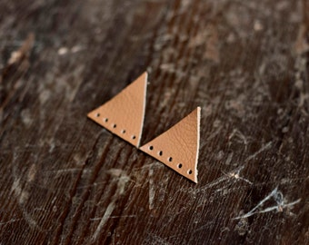 Beige Triangle Earrings studs, Leather Geometric Earrings, stud earrings, boho tribal earrings, minimalism, gift for her