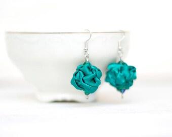 Emerald green  fabric bead Earrings, ruffled textile earrings, fabric jewelry, textile jewelry, dangle earrings, Unique Gift for Her