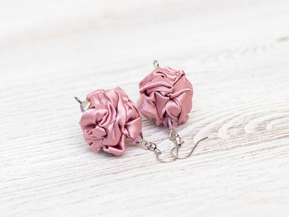 Rose quartz fabric bead earrings