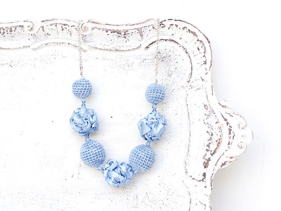 Light blue fabric and crochet beads necklace, textile necklace, textile jewelry, Statement Necklace, Unique Gift for Her, Serenity