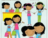 Mom and Me Stick Figures Girls V2 Cute Digital Clipart for Invitations, Card Design, Scrapbooking, and Web Design, Mothers Day Clipart