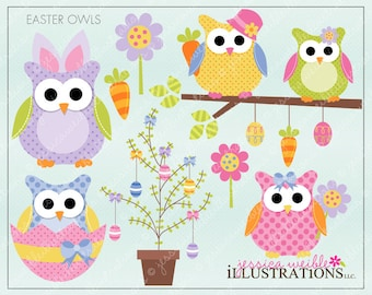 Easter Owls Cute Digital Clipart for Invitations, Card Design, Scrapbooking, and Web Design, Easter Clipart
