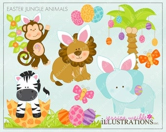 Easter Jungle Animals Cute Digital Clipart for Invitations, Card Design, Scrapbooking, and Web Design, Easter Clipart