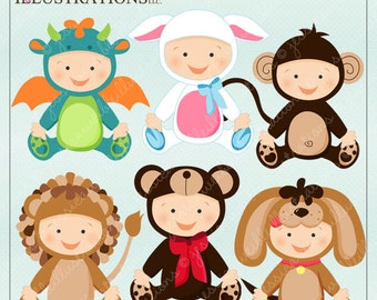 Baby In Costume V2 Cute Digital Clipart for Card Design, Scrapbooking, and Web Design