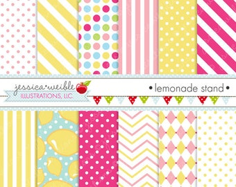 Lemonade Stand Cute Digital Paper Backgrounds for Commercial or Personal Use, Lemonade Summer Papers, Patterns