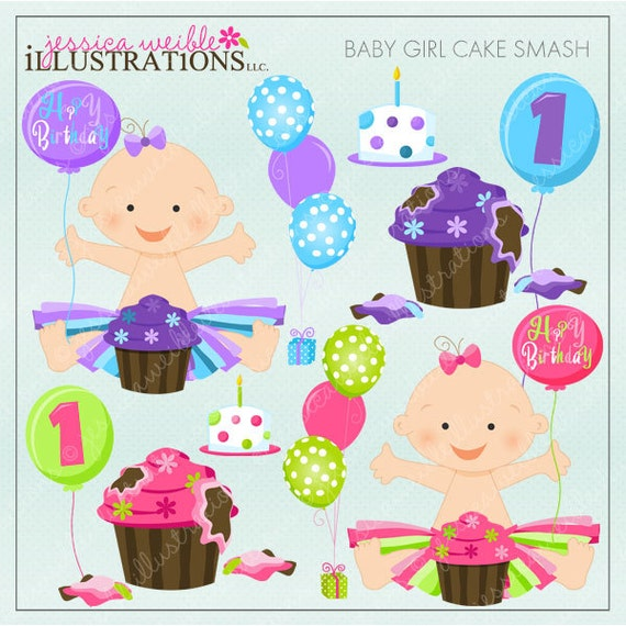 Baby Girl Cake Smash Cute Digital Clipart for by ...