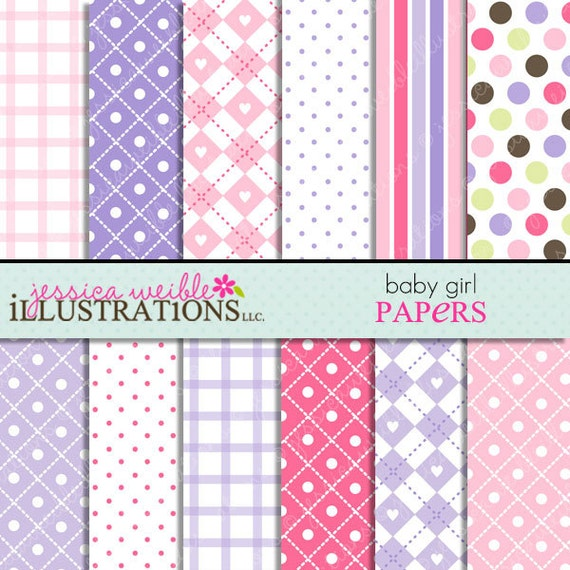 Baby girl cute digital papers for card design scrapbooking for Cute designs for paper