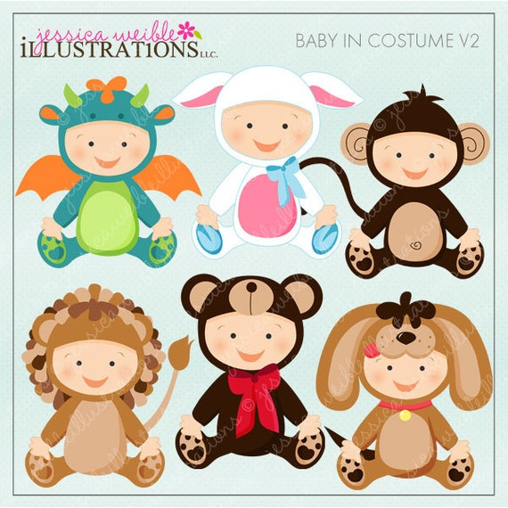 Baby In Costume V2 Cute Digital Clipart for Card Design