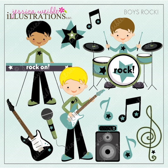 Boys Rock Cute Digital Clipart for Card Design, Scrapbooking, and ...