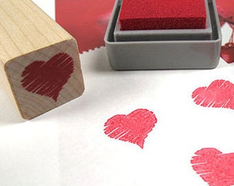 Heart Crayon Stamp (0.75 x 0.75in)