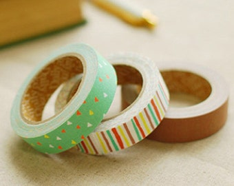 3 Set - Childhood Color Stripe Scrap Brown Adhesive Fabric Tapes (0.6in)