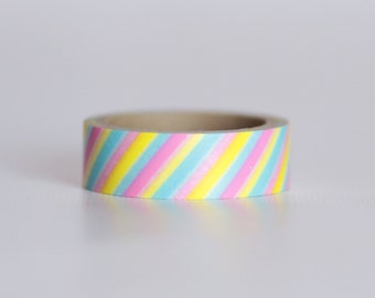 Cotton Candy Stripes Washi Tape-  Single Roll 10 m