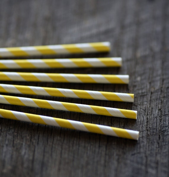 Lemonade Yellow- Paper Straws- Set of 12