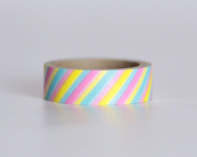 Cotton Candy Stripes Washi Tape-  Single Roll 10 m
