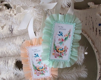 Birthday gift tags Blue bird vintage paper card scrap Shabby Chic gift tags for friend Mint green and peach glittered tags