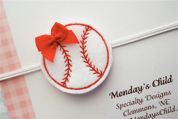Baseball Headband - Felt Baseball Headband - Baby Headbands, Baby Girl Headbands, Newborn Headbands