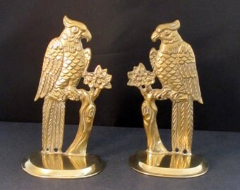 CLEARANCE Vintage Brass Cockatiels Bookends at checkout, use code