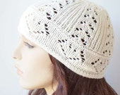 Stylish lace cotton-cashmere beanie hat in white