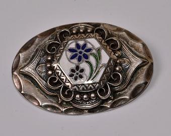 Enamel Brooch Vintage Silver and Blue Pin