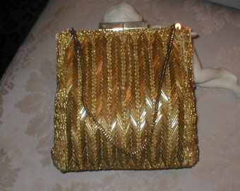 Vintage Beaded Evening Purse  Gold Beads
