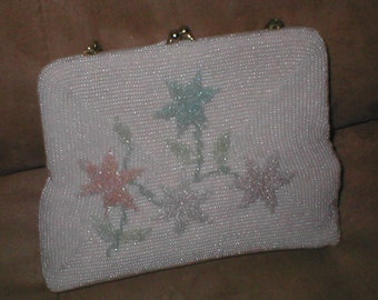 VintagePastels on White Beaded Evening Purse by ERNEST