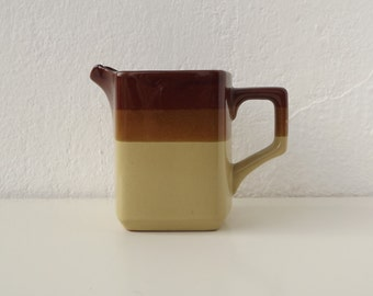Vintage Japanese minimal jug brown stripes
