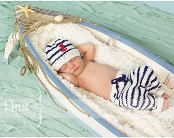 Sailor Set, Nautical Newborn Knit Pants Hat Set, Baby Knitted Anchor or Whale Cap, Infant Photo Prop, Navy Blue and White Stripes