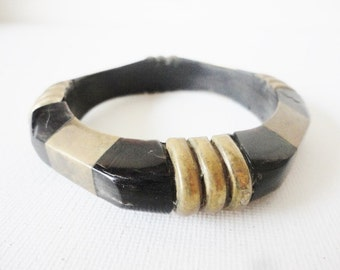 vintage wood and BRASS inlay  bangle bracelet