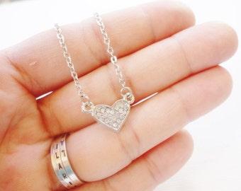 rhinestones heart necklace little silver color love jewelry