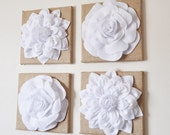 """Wall Decor - SET OF FOUR White Dahlias And Roses On Burlap 12 x 12 """" Canvases - Wall Art -"""