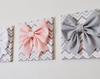 """SET OF THREE - Wall Decor - Large Gray Pink and White Bows on Pink and Gray Chevron 12 x12"""" Canvases Wall Art- Baby Nursery Wall Decor-"""