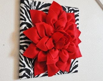 "Red Wall Flower -Red Dahlia on Zebra Print 12 x12"" Canvas Wall Art- Baby Nursery Wall Decor-"