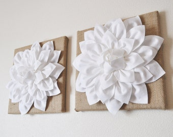 "Housewarming Gift Wall Art Rustic Home Decor TWO Wall Flowers -White Dahlias on Burlap 12 x12"" Canvas"