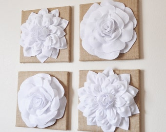 "Wall Decor - SET OF FOUR White Dahlias And Roses On Burlap 12 x 12 "" Canvases - Wall Art -"