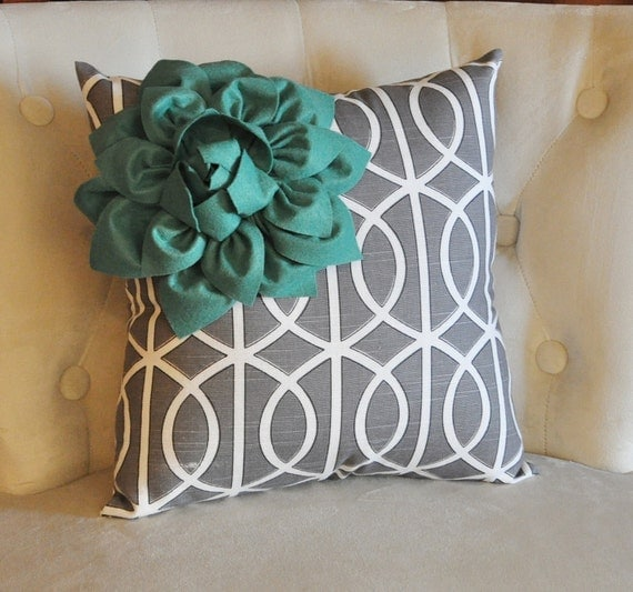 Teal Corner Dahlia on Gray and White Bella Porte Print Pillow 14 X 14 -Flower Pillow--NEW PRINT-