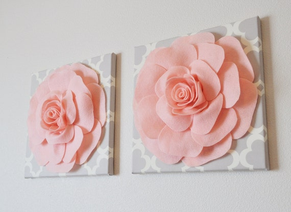 Rose Flower Design Baby Nursery Kids Bedroom Wooden: TWO Wall Flowers Light Pink Roses On Neutral Gray By Bedbuggs