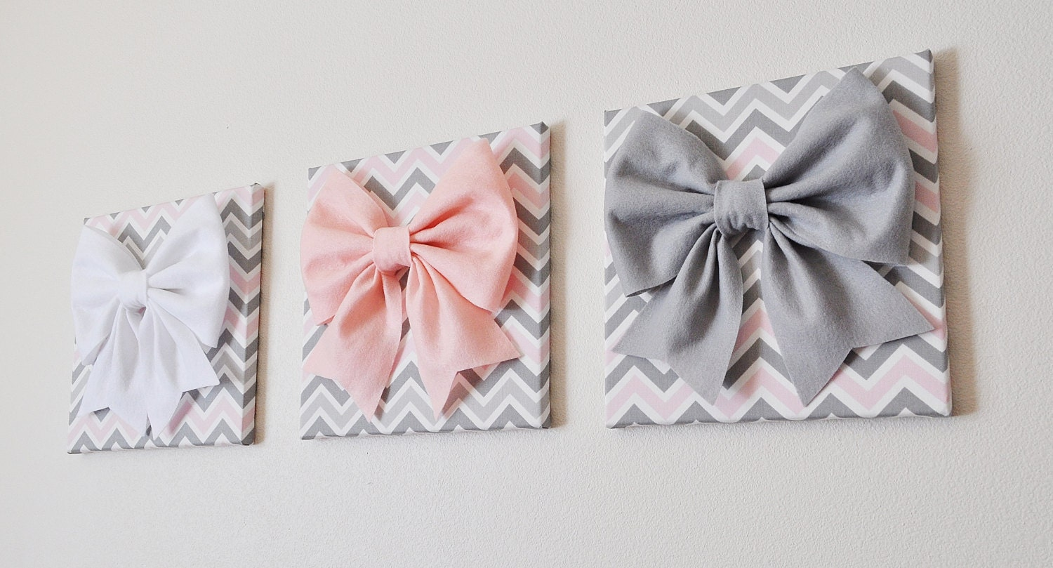 Wall Decor Set Of Three : Set of three wall decor large gray pink and white by bedbuggs