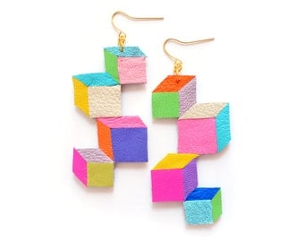 Rainbow Neon Leather Earrings, Color Block Cubes, Faceted Geometric Earrings, Contemporary Jewelry