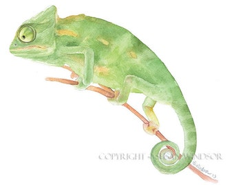 Chameleon Watercolor Painting Giclee Print Fine Art Watercolor 10 x 8 - 11 x 8.5 - Lizard Art Reptile Painting