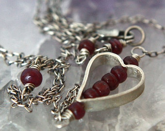 FREE SHIPPING---Ruby Heart Necklace---Sterling Silver---Creations by Sandy