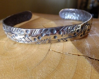 "Sterling Silver 3/8"" Cuff Bracelet with Botanical Design of Leaves and Berries - Stamped, Silversmithed, Hand Forged"