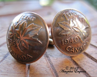 Canada Canadian Copper Penny Maple Leaf Cufflinks for Groom, Groomsmen, Father of Bride, Best Man, Formal Wear MADE TO ORDER.