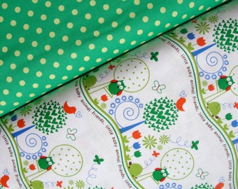 Michael Miller Fabric Duo, Animal Friends in Primary and Dumb Dot in Sprout, Full Yard Set, 2 Yards Total