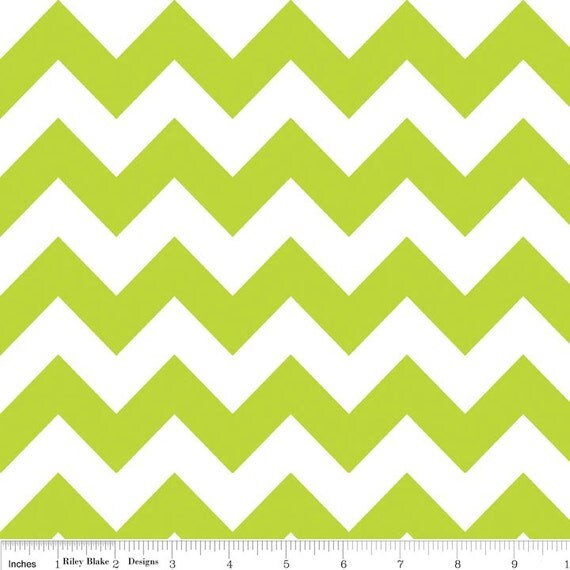 Medium Chevron in Lime Green Chevron Fabric by Riley Blake 1