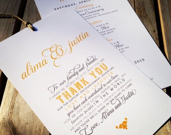 Wedding Welcome / Itinerary Hang Tag - Out of Town Guest  /  Destination Welcome Bags - 4.5 x 7 - White Cardstock - Custom Colors Available