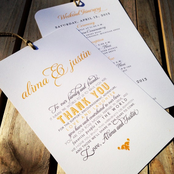 Wedding Welcome Itinerary Hang Tag Out Of Town Guest